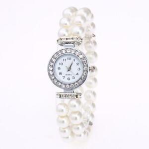Fashion Women Ladies Watch Pearl String Bracelet and Crystals  Around Quartz