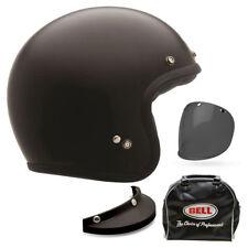 Bell Custom 500 Delux Matte Black Solid Open Face Motorcycle Motorbike Helmet
