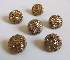 Set of 6 Matching Vintage Black Glass Buttons Shiny Gold Floral Flowers Finish