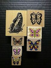 Rubber Stamps Butterfly Butterflies Insect Nature Wood Mounted Lot 7
