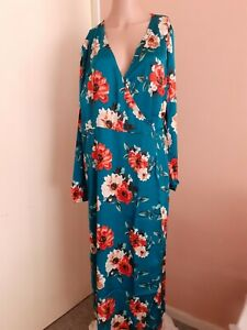 Studio Women's Satin Wrap Floral Dress, Size 14 Casual, Formal, Holiday Blu15572