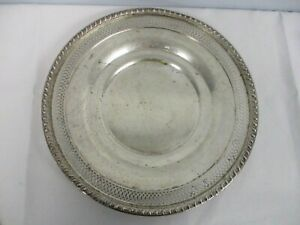 """VINTAGE STERLING SILVER 11 1/2"""" PLATE WITH PIERCED EDGE"""