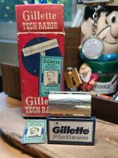 Vtg 1951 W-4 GILLETTE TECH ball end safety razor w/ blue blade & 5 NOS Platinum