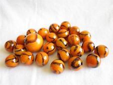 25 Glass Marbles BENGAL TIGER Orange/Brown Stripe Shooter vtg style game Swirl