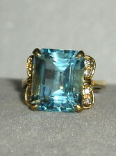 SOLID     14K Gold     BLUE  TOPAZ   Diamond    Ring