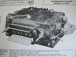 1958 STUDEBAKER & PACKARD AC-2907 RADIO PHOTOFACT