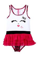 BETSEY JOHNSON SMILING FACE PINK LEOPARD TODDLER GIRL'S 4T TUTU BATHING SUIT-NEW