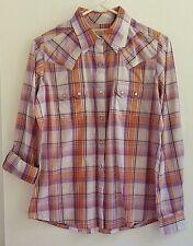 New! Wrangler Shirt As Real As Wrangler Womens Sz Small Purple Plaid Pearl Snaps