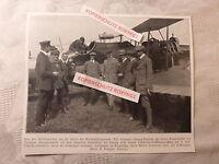 altes Bild aus Zeitung v. 1913 Flugzeug Doppeldecker Oelerich 8.7.1913 Dauerflug