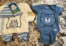 NWT 6 PIECE BABY BOY GERBER ORGANIC COTTON CLOTHING LOT SIZE PREEMIE