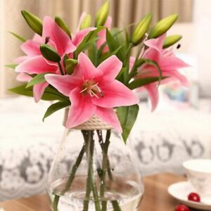 Household Table Display Artificial Flowers Silk Material Lily Flower Branch Type