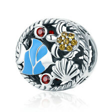 925 Silver Undersea World Enamel Beads CZ Charms Pendant Fits Bracelet Necklace