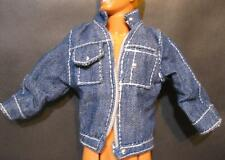 barbie Ken Doll Clothes-Denim Jean Jacket/Coat-White topstitching silver buttons