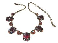 Vintage VCLM Multicolored Crystal Rhinestone Bib Necklace
