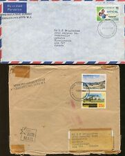 Lot of 2 Charlestown Nevis Philatelic Bureau Official Air Mail Covers 1982-83