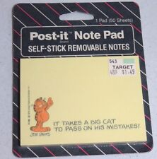 vintage garfield post-it note pad  IT TAKES A BIG CAT TO PASS....    sealed