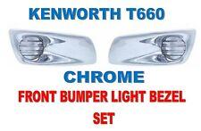 Kenworth T660 Chrome Front Bumper Light Bezel Driver & Passenger Semi Truck