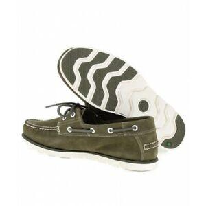 Timberland Homme 2 Eye Tidelands Mocassins Casual Vert Daim Chaussures Bateau