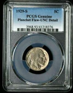 1929-S Buffalo Nickel 5C PCGS Genuine Planchet Flaw-UNC Detail (I-4549) 499c NR