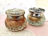 Avon Topaze Cream Sachet Vanity Jar & Powder Jar Both with Product