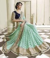 Diwali Bollywood Ethnic Bollywood Designer Green Blue Saree Party Sari Tradition