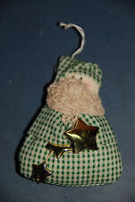 Handmade Santa Claus in a Bag with Gold Stars Christmas Ornament -- Holidays