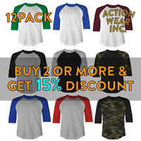12 PACK SHAKA MENS PLAIN RAGLAN TEE 3/4 SLEEVE BASEBALL T SHIRT SPORTS JERSEY