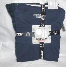 JOE BOXER MENS PAJAMAS PJS BLUE JERSEY TOP BLUE PLAID FLEECE BOTTOMS XL NWT +