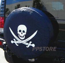 """SPARE TIRE COVER 29""""-31"""" NEW Pirate Skull white image on amigo black ds69831p"""