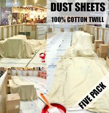 5 x LARGE PROFESSIONAL 100% COTTON TWILL DUST SHEETS DECORATING ( Five Pack )
