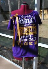 LSU Tigers Off Shoulder One Shoulder Shirt Top Upcycled S/M
