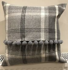 """Balmoral Wool Tartan 16"""" Cushion Covers With Pompoms"""