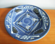 "Hand Thrown Blue Bowl Raised Design Signed Snider 10 1/4"" Studio Pottery"