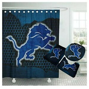 Detroit Lions Bathroom Rugs Set 4PCS Shower Curtain Toilet Lid Cover Decor Gifts