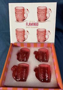 Pink Flamingo Shot Glasses  Set of 4  Two's Company ea. 2.5 oz - NIB
