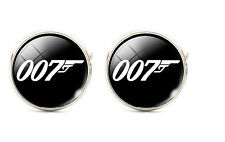 925 Silver Plated James Bond 007 Cufflinks Quality Round cuff links UK Seller O