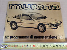 MANUALE ORIGINALE MATRA MURENA 1981 LIBRETTO SERVICE TAGLIANDI TALBOT SIMCA