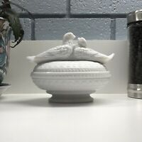 Vintage Westmoreland Glass Kissing Love Birds on Nest Milk Glass Covered Dish