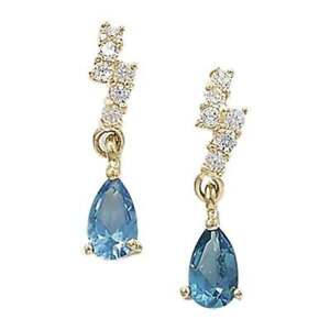 9ct Gold Blue Topaz and Cubic Zirconia Small Earrings 12mm