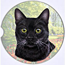 E&S Pets Absorbent Car Coaster Dog Breed Stoneware Black Cat Kitty