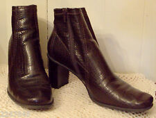 Franco Sarto Ankle Boots size 9 M Brown Stacked Look Heel Mock Croc Shoes ✿