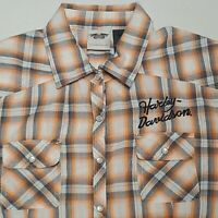 Harley Davidson Orange Plaid Short Sleeve Pearl Snap Button Front Womans Large