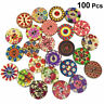 100pcs/SET Mixed Retro Vintage 2 Holes Wooden Buttons Sewing DIY Crafting NEW