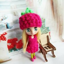 Petite Blythe costume Raspberry hat, dress doll clothes Outfit mini dolls