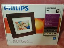 Philip's Home Essentials Digital PhotoFrame 7'' LCD Panel ~Brown Wood Frame •NEW