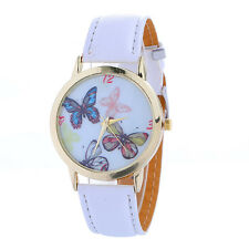 Fashion Butterfly Dial Womens Watch Causal Leather Band Analog lady WristWatch