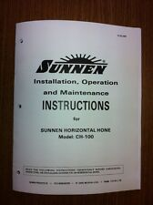 Sunnen CH100 Instruction Operation & Maintenance Manual