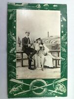 Vintage Postcard 1910's Man & Woman Posing Beach Bathing Sailboat Fishing Border