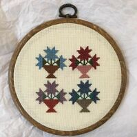 Completed Cross Stitch Miniature Floral Quilt Block In Hoop Frame Ready to Hang