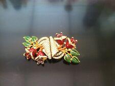 Vintage Coro Rhinestone Enamel Flower Floral Duette Pin Brooch Clips 1940 Rare